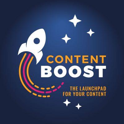 Content Boost branding by Fiona Robertson Graphics #rocketlogo #logodesign #spacelogo