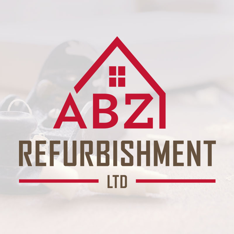 ABZ Refurbishment logo design: a simple + bold house icon shows home improvement services while the bright colour scheme means their van is easily spotted around Aberdeen.