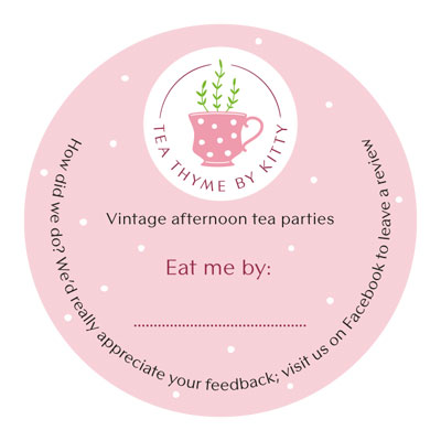 Tea Thyme 'eat me by' sticker design for leftover cakes and treats