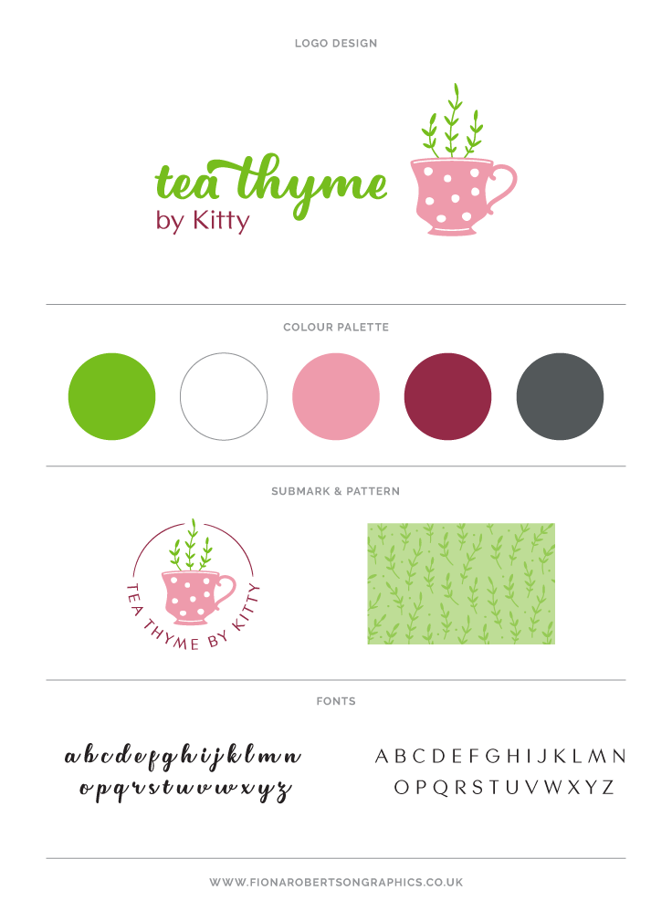 Tea Thyme logo design by Fiona Robertson Graphics. Tea Thyme by Kitty brand board.